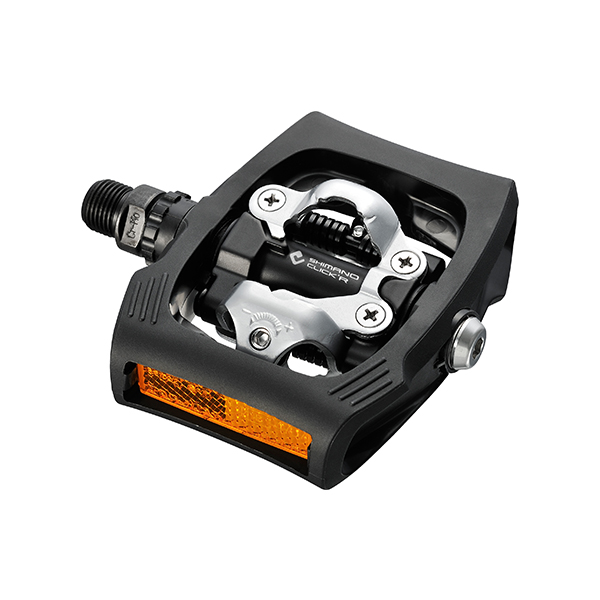 Shimano pedály PD-T400 Click'R + odrazky + zarážky SM-Sh56, černé